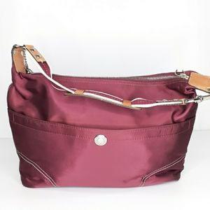 Coach Weekend Hampton Hobo Red Satin Purse Handbag